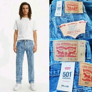 Rare Levi's 501 XX Spellout All Over Laser Print